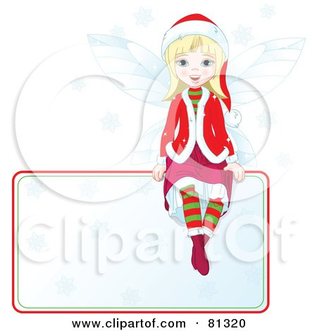 Royalty-Free (RF) Clipart Illustration of a Blond Christmas Fairy Girl Sitting On A Blank Sign by Pushkin