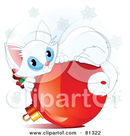 Royalty-Free (RF) Clipart Illustration of a Cute White Christmas Kitten Curled Up On A Red Bauble by Pushkin