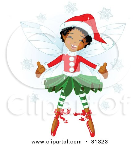 Royalty-Free (RF) Clipart Illustration of a Happy Black Christmas Fairy Girl In Christmas Clothes by Pushkin
