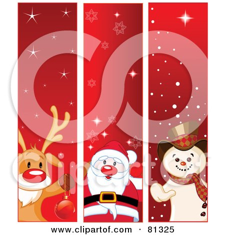 Royalty-Free (RF) Clipart Illustration of a Digital Collage Of Vertical Rudolph, Santa And Frosty The Snowman Christmas Banners by Pushkin
