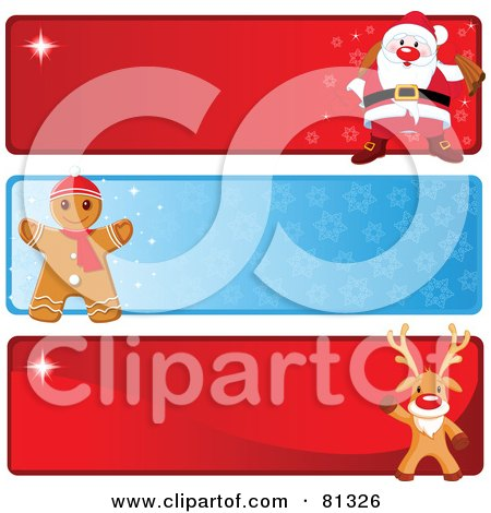 Royalty-Free (RF) Clipart Illustration of a Digital Collage Of Three Santa, Gingerbread And Rudolph Christmas Banners by Pushkin