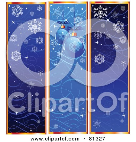 Royalty-Free (RF) Clipart Illustration of a Digital Collage Of Three Vertical Snowflake, Ornament And Swirl Website Banners by Pushkin