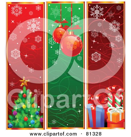 Royalty-Free (RF) Clipart Illustration of a Digital Collage Of Vertical Tree, Bauble And Present Christmas Banners by Pushkin