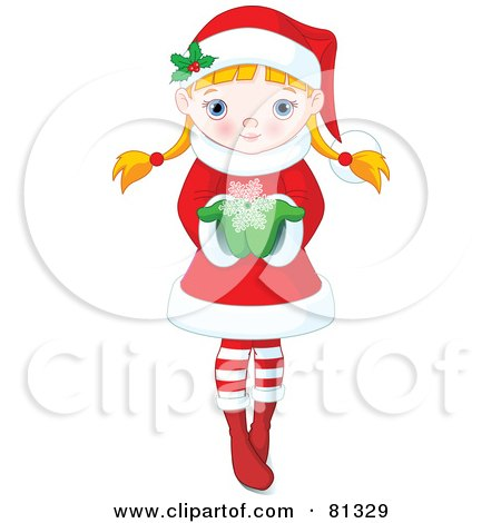 Royalty-Free (RF) Clipart Illustration of a Cute Blond Christmas Girl Holding Out A Snowflake by Pushkin