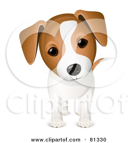 Royalty-Free (RF) Clipart Illustration of a Curious Adorable Jack Russell Puppy Dog by Oligo
