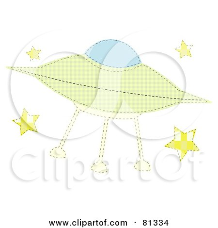 Royalty Free RF Clipart Illustration Of A Green Patchwork Alien Ufo With Stars