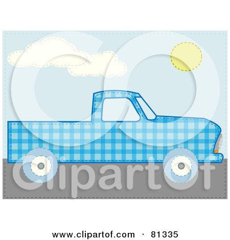 Royalty-Free (RF) Clipart Illustration of a Blue Patchwork Pickup Truck by mheld