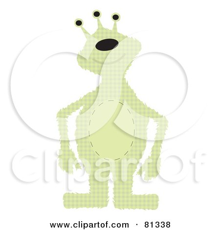 Royalty Free RF Clipart Illustration Of A Green Patchwork Alien Monster