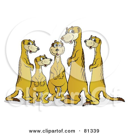 Royalty-Free (RF) Clipart Illustration of a Chatty Meerkat Family by Snowy