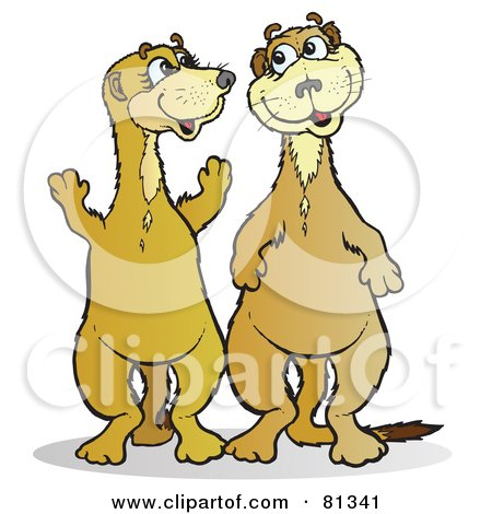 Royalty-Free (RF) Clipart Illustration of Two Happy Meerkat Friends by Snowy