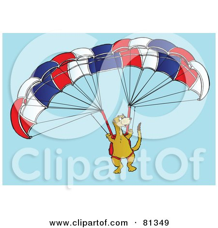 Royalty-Free (RF) Clipart Illustration of a Meerkat Paragliding In A Sky by Snowy
