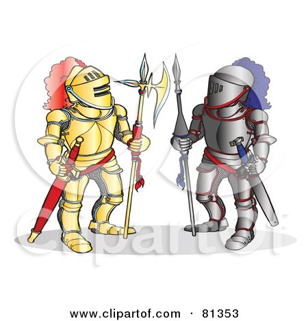 Royalty-Free (RF) Clipart Illustration of Two Knights Standing In Different Armor by Snowy