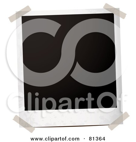 Royalty-Free (RF) Clipart Illustration of a Taped Blank Black Polaroid Picture by michaeltravers