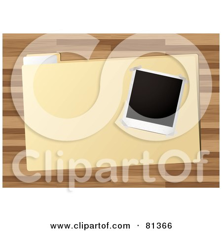 Royalty-Free (RF) Clipart Illustration of a Blank Polaroid Picture On A File Over A Wood Desk by michaeltravers