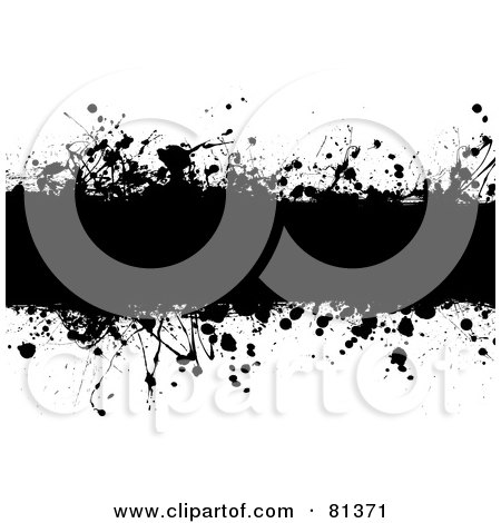 Royalty-Free (RF) Clipart Illustration of a Black Grungy Splatter Text Box - Version 1 by michaeltravers