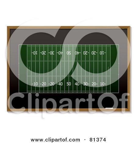 Royalty-Free (RF) Clipart Illustration of a Green American Football Sketch On A Black Board by michaeltravers