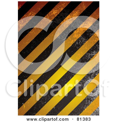 Royalty-Free (RF) Clipart Illustration of a Grungy Background Of Orange And Black Grunge Warning Stripes by michaeltravers