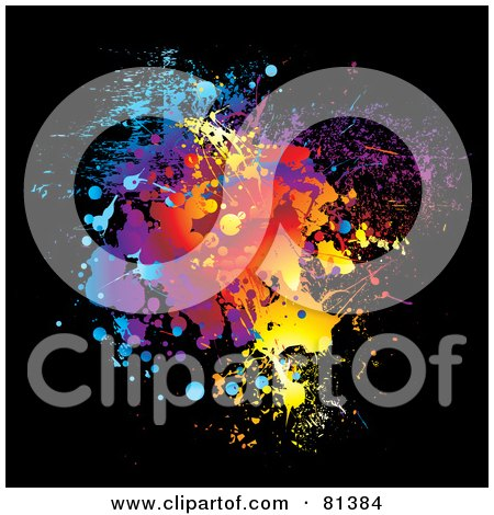 Royalty-Free (RF) Clipart Illustration of a Rainbow Paint Splatter On Black by michaeltravers