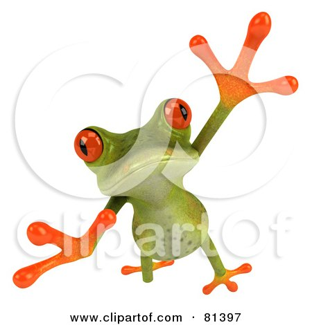 Royalty-Free (RF) Clipart Illustration of a 3d Green Tree Frog Taking A Big Leap Forward by Julos