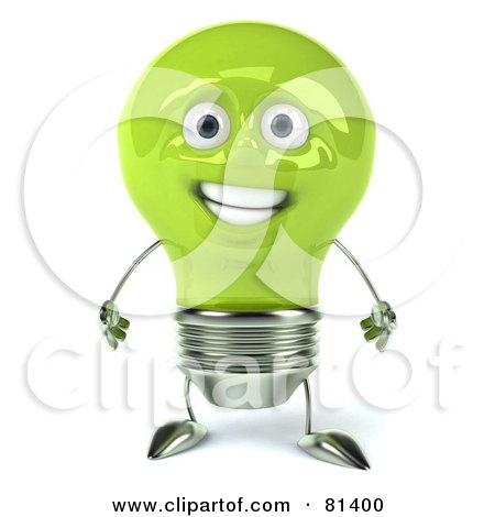 Royalty-Free (RF) Clipart Illustration of a Green 3d Electric Light Bulb Head Character Standing And Facing Front by Julos