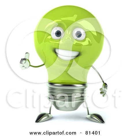 Royalty-Free (RF) Clipart Illustration of a Green 3d Electric Light Bulb Head Character Giving The Thumbs Up by Julos