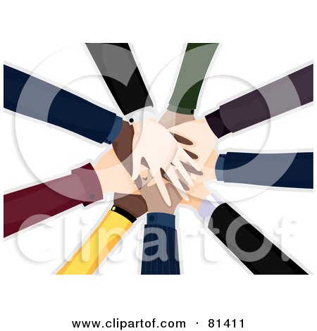 Royalty-Free (RF) Clipart Illustration of a Pile Of Diverse Business People Hands by BNP Design Studio