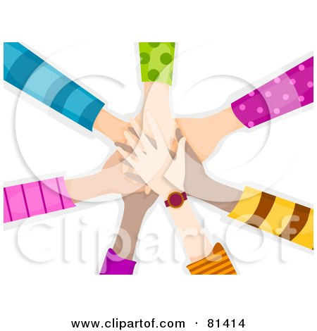 Royalty-Free (RF) Clipart Illustration of a Team Of Childrens Hands Piled by BNP Design Studio
