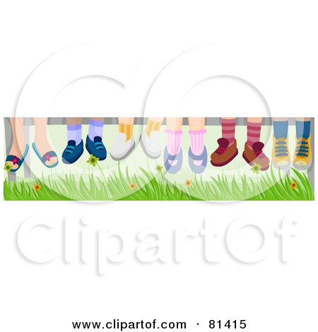 Royalty-Free (RF) Clipart Illustration of a Group Of Children's Feet Hanging Down Over Grass by BNP Design Studio