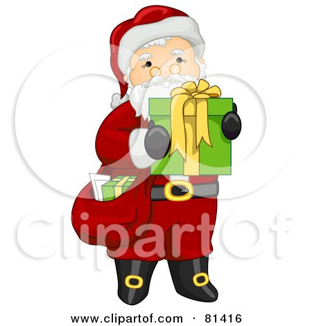 Royalty-Free (RF) Clipart Illustration of a Jolly St Nick Carrying A Sack And Present by BNP Design Studio
