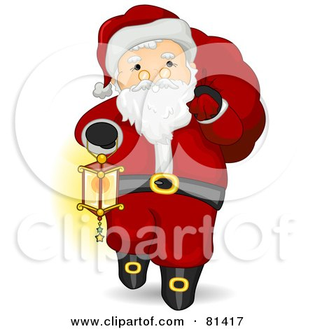 Royalty-Free (RF) Clipart Illustration of a Jolly St Nick Carrying A Lantern And Sack by BNP Design Studio