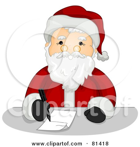 Royalty-Free (RF) Clipart Illustration of a Jolly St Nick Writing A List by BNP Design Studio