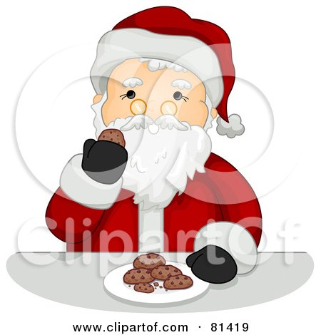 Royalty-Free (RF) Clipart Illustration of a Jolly St Nick Enjoying Cookies by BNP Design Studio