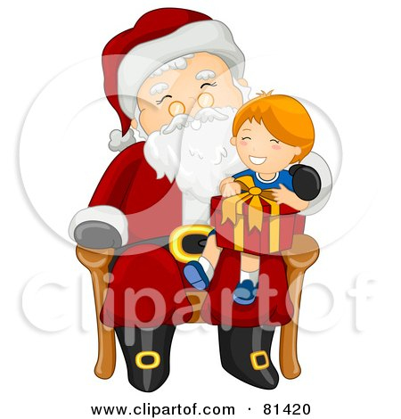 Royalty-Free (RF) Clipart Illustration of a Jolly St Nick Giving A Gift To A Happy Boy by BNP Design Studio