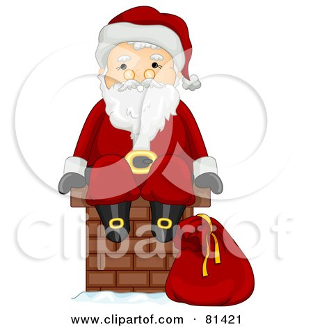 Royalty-Free (RF) Clipart Illustration of a Jolly St Nick Sitting On A Brick Chimney by BNP Design Studio
