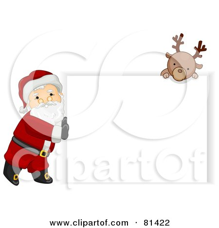 Royalty-Free (RF) Clipart Illustration of a Jolly St Nick Pushing A Blank Sign And A Reindeer Looking Over It by BNP Design Studio