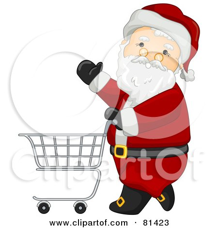 Royalty-Free (RF) Clipart Illustration of a Jolly St Nick Pushing A Shopping Cart by BNP Design Studio