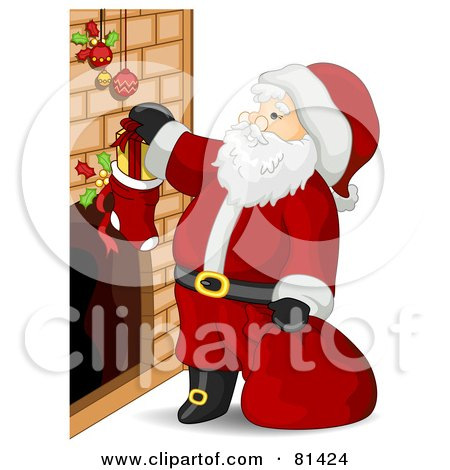 Royalty-Free (RF) Clipart Illustration of a Jolly St Nick Putting Stuffers In Stockings by BNP Design Studio