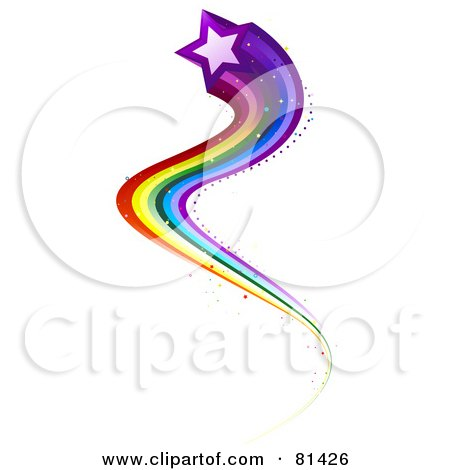Royalty-Free (RF) Clipart Illustration of a Purple Star With A Curvy Rainbow Trail by BNP Design Studio