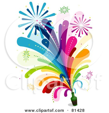 Royalty-Free (RF) Clipart Illustration of Rainbow Fireworks Shooting Out Of A Bottle by BNP Design Studio