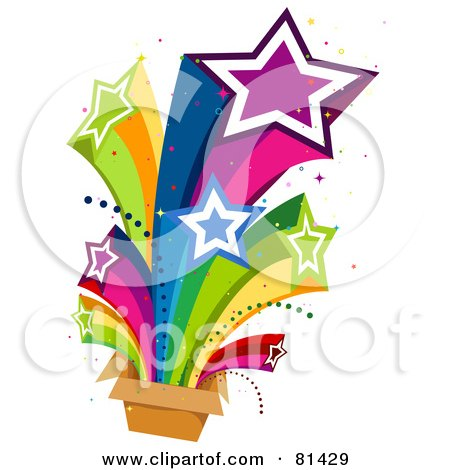 Royalty-Free (RF) Clipart Illustration of a Rainbow Stars Shooting Out Of A Box by BNP Design Studio