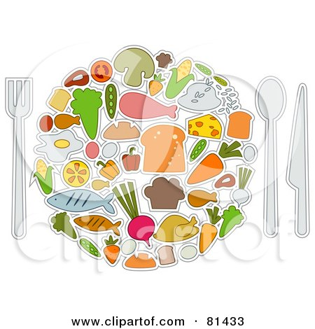 Royalty-Free (RF) Clipart Illustration of a Collage Of Food Items Forming A Plate by BNP Design Studio