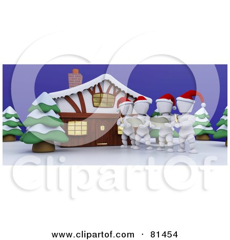 Royalty-Free (RF) Clipart Illustration of 3d White Characters Christmas Caroling Outside A House by KJ Pargeter