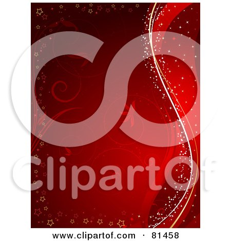 Red Floral Background Bordered With Stars And Waves Posters, Art Prints
