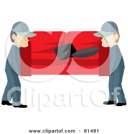Royalty-Free (RF) Clipart Illustration of a Team Of Two Male Movers Carrying A Red Couch by Rosie Piter