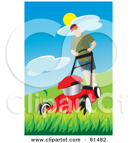 Royalty-Free (RF) Clipart Illustration of a Caucasian  Man Pushing A Red Lawn Mower Over Tall Grass by Rosie Piter