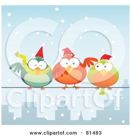 Royalty-Free (RF) Clipart Illustration of Chubby Christmas Birds Wearing Santa Hats And, Perched On A City Wire In The Snow by Qiun