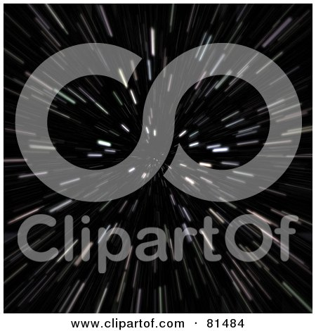 Royalty-Free (RF) Clipart Illustration of a Hyperspace Background Of Blurry Stars On Black by Arena Creative