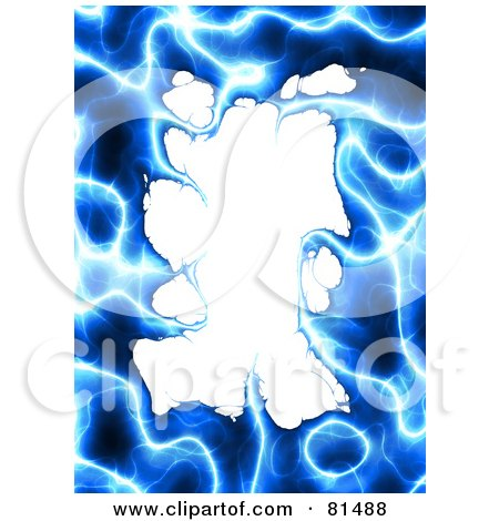 Royalty-Free (RF) Clipart Illustration of a Border Of Blue Plasma Around White Space by Arena Creative