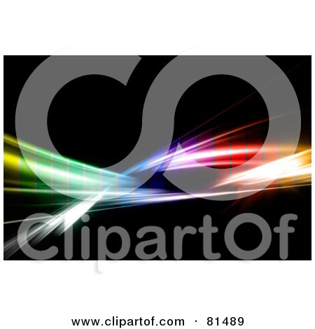 Royalty-Free (RF) Clipart Illustration of a Layer Of Colored Transparent Pixels Over Rainbow Fractal Swooshes On Black by Arena Creative