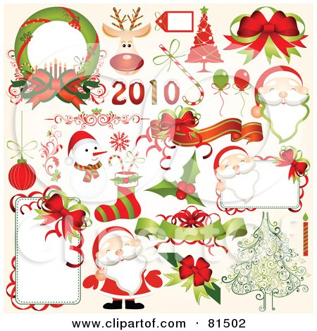 Royalty-Free (RF) Clipart Illustration of a Digital Collage Of New Year And Christmas Design Elements by OnFocusMedia